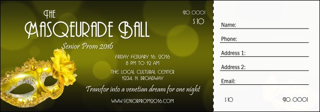 Masquerade Ball 2 Raffle Ticket