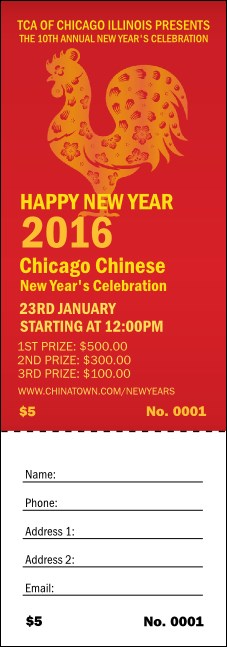 chinese new year rooster raffle ticket