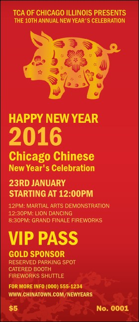 Chinese New Year Pig VIP Pass Product Front
