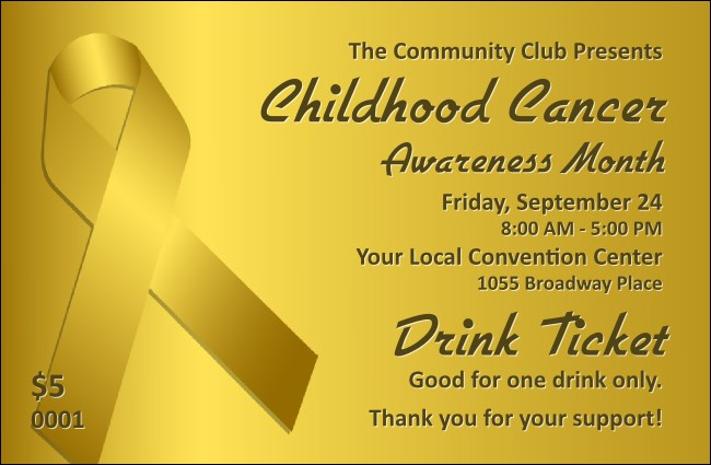 Childhood Cancer Awareness Month Drink Ticket