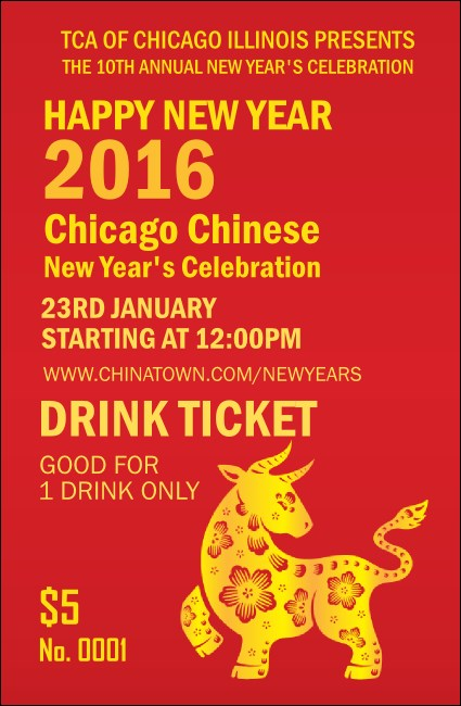 Chinese New Year Ox Drink Ticket