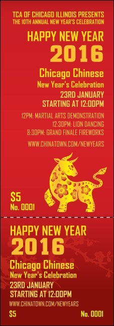 Chinese New Year Ox Event Ticket Product Front