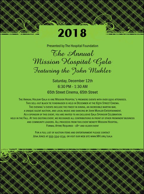 Year Gala Plaid Green Flyer Product Front