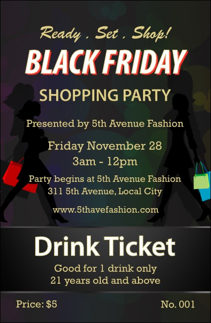 Black Friday Drink Ticket Product Front