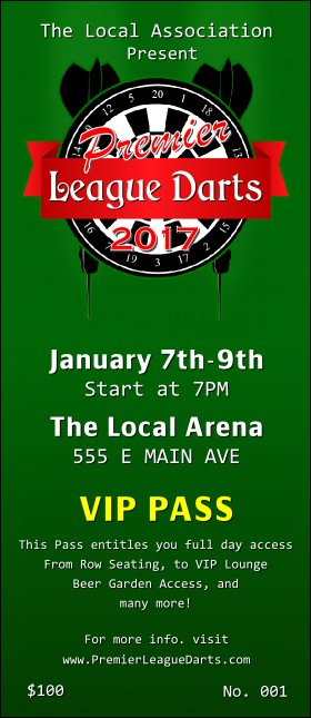 Premier League Darts 2017 VIP Pass