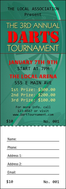 Dart Tournament Raffle Ticket Product Front