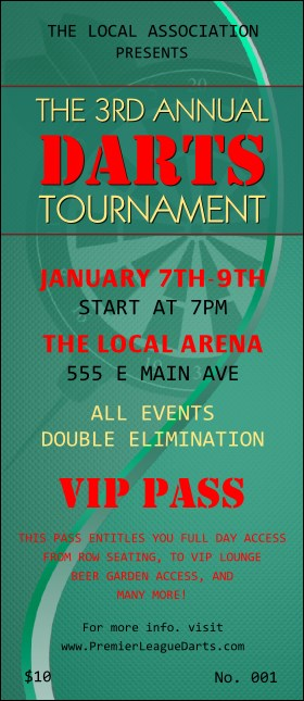 Dart Tournament VIP Pass