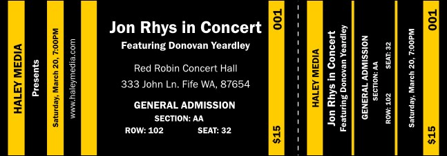 Yellow and Black Reserved  Event Ticket