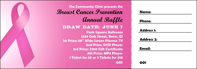 Pink Ribbon Raffle Ticket 0007