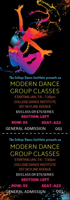 Modern Dance Reserved  Black  Event Ticket
