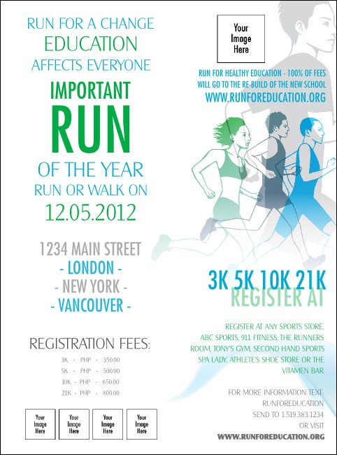 Run for a Cause Blue & Green Flyer