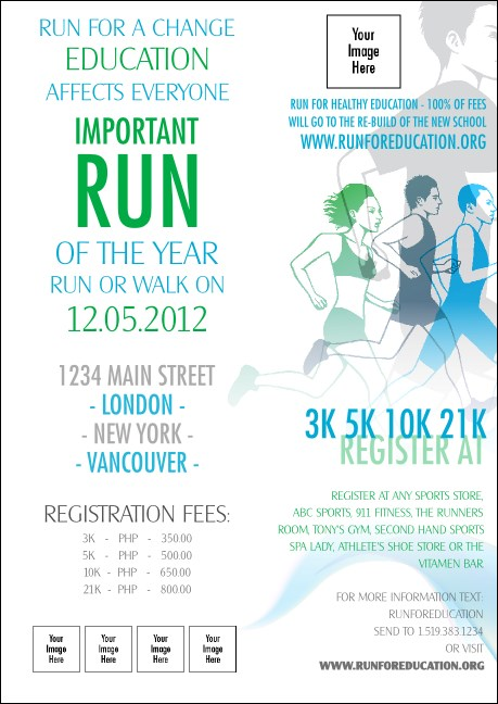Run for a Cause Blue & Green Postcard