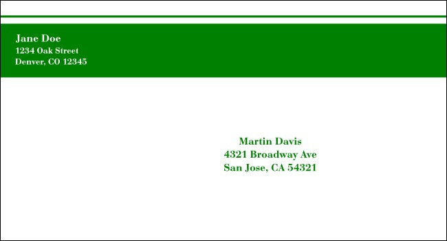 Green Stripe #6 1/2 Envelope Product Front