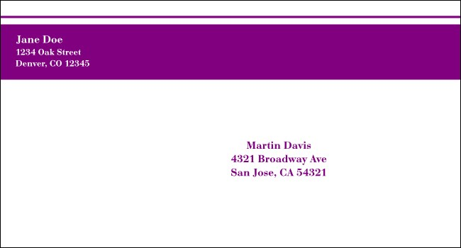 Purple Stripe #6 1/2 Envelope
