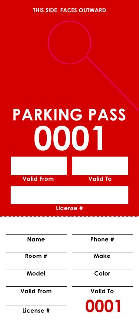 Red Parking Pass (100 pack)