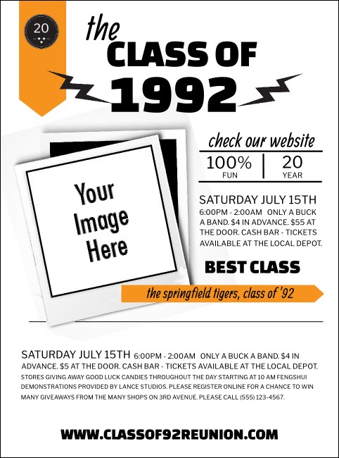 Class Reunion Mascot Orange Flyer Product Front