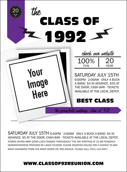Class Reunion Mascot Purple Flyer Product Front