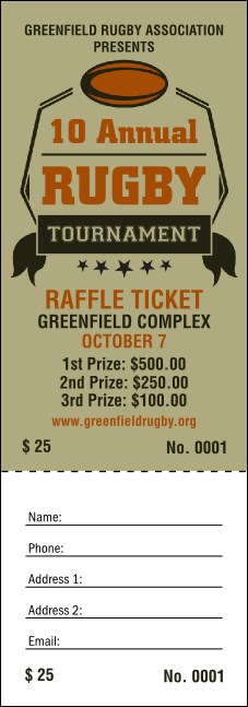 Rugby Tournament Raffle Ticket
