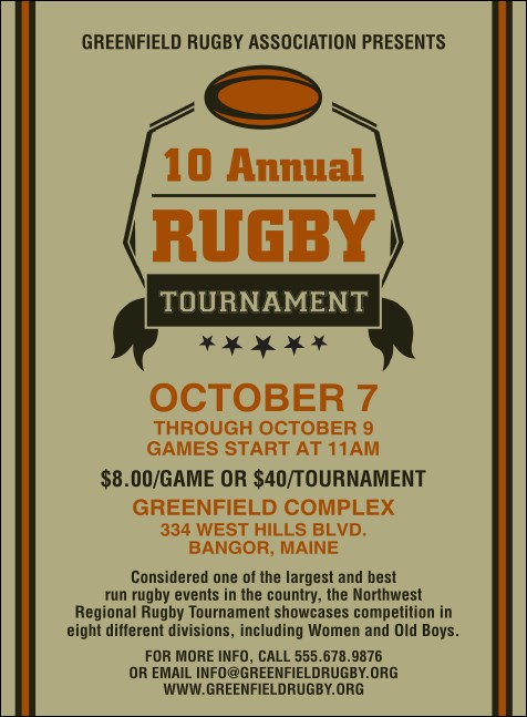 Rugby Tournament Invitation Product Front