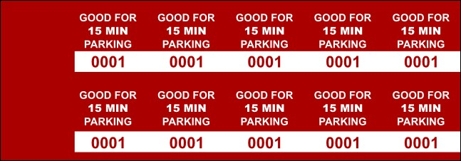 Red 15 Min Parking Validation Stickers