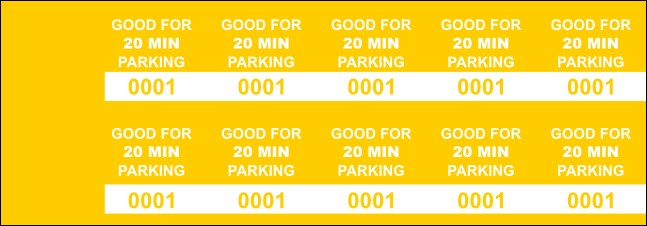 Yellow 20 Min Parking Validation Stickers