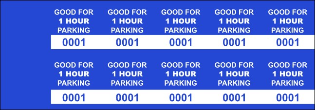 Blue 60 Min Parking Validation Stickers