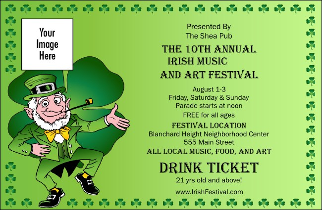 St. Patrick's Day  Drink Ticket Product Front