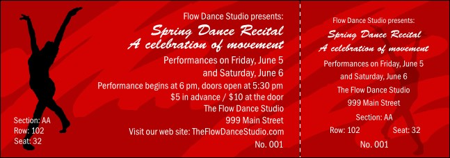 Dance Reserved Event Ticket Product Front