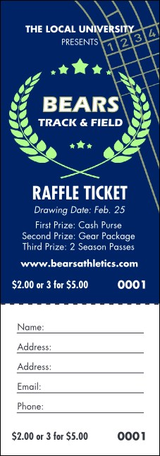 Track and Field Blue Raffle Ticket Product Front