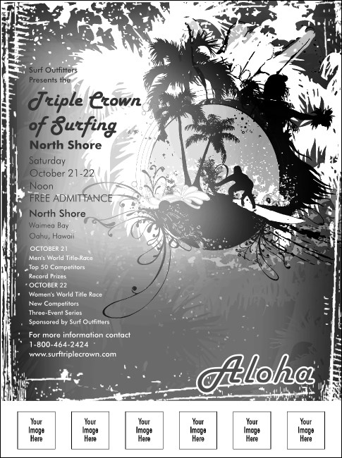Aloha Flyer (black and white) with Image Upload