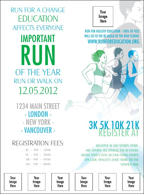 Run for a Cause Blue & Green Logo Flyer