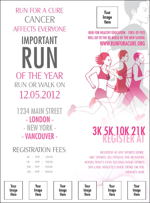 Run for a Cause Pink Logo Flyer