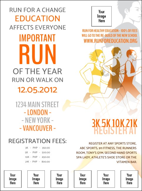 Run for a Cause Orange Logo Flyer