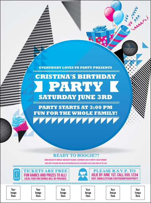 Birthday Party Geometric Logo Flyer Product Front