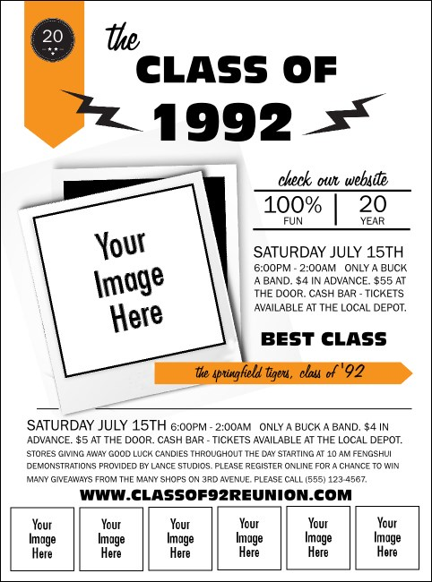 Class Reunion Mascot Orange Logo Flyer