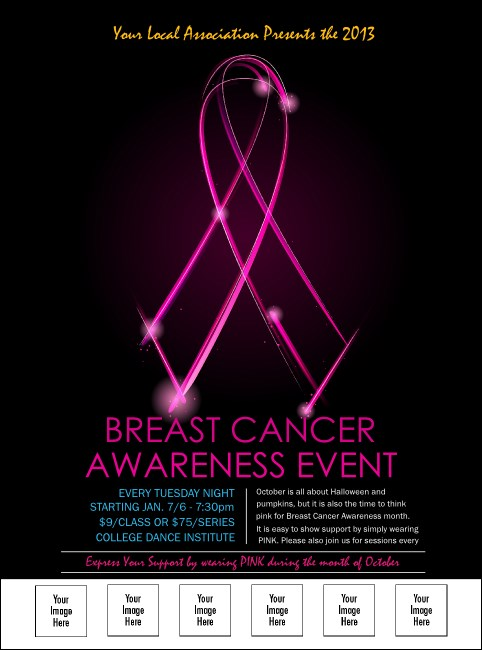 Breast Cancer Ribbon Sparkle Logo Flyer