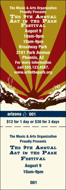 Arizona General Admission Ticket Product Front