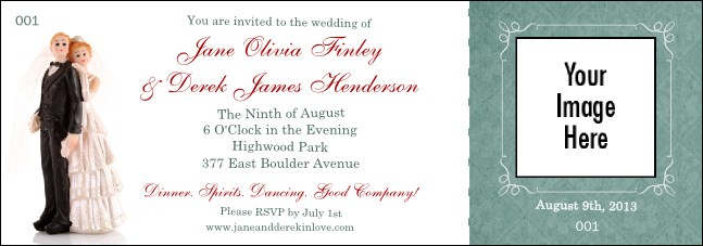 Vintage Bride and Groom General Admission Ticket Product Front