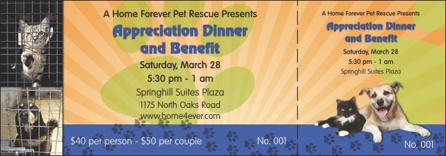 Animal Rescue Benefit Event Ticket