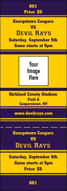 Sports Ticket 002 Purple & Yellow Product Front