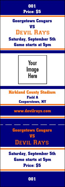Sports Ticket 001 Blue & Orange Product Front