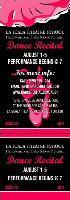 Dance Recital Event Ticket Product Front