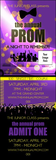Prom Limo Event Ticket Product Front