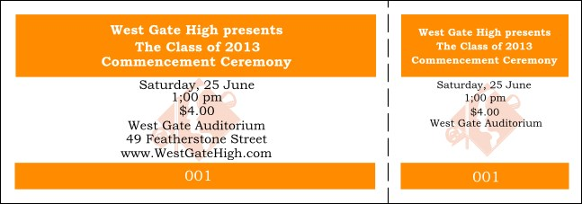 Graduation General Admission Ticket Orange