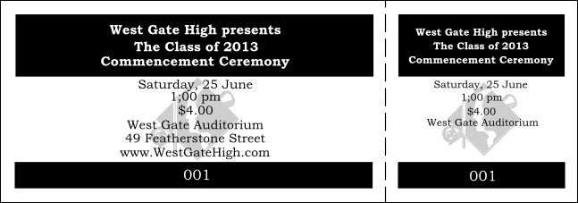 Graduation General Admission Ticket Black