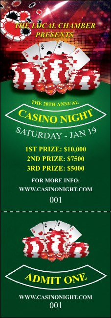 Casino Chips Event Ticket