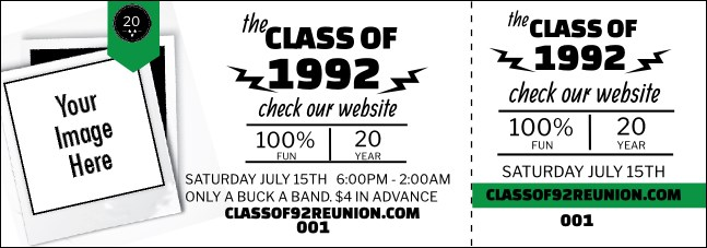 Class Reunion Mascot Green Event Ticket Product Front
