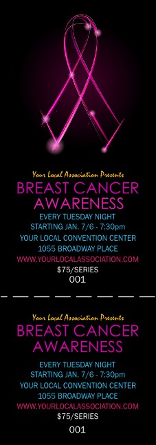 Breast Cancer Ribbon Sparkle Event Ticket Product Front