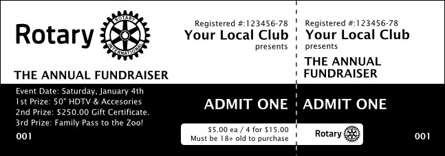 Rotary Club 2 Black and White Event Ticket