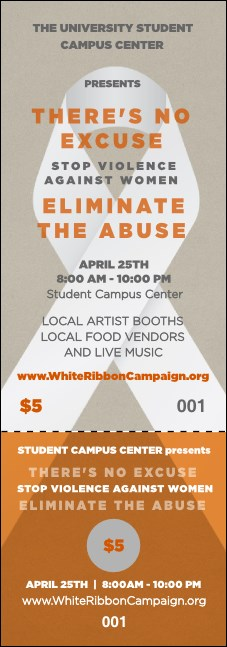 White Ribbon Event Ticket Product Front